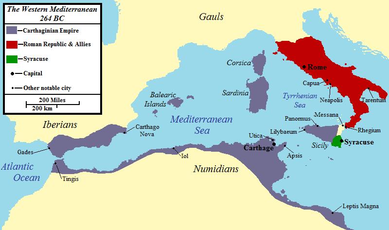 Roma y Cartago antes de la Primera Guerra Púnica, 264 aC