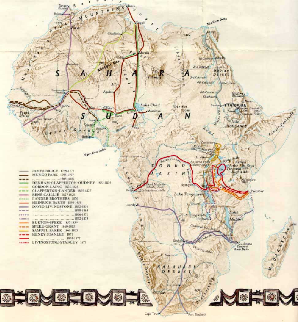 Explorers routes in Africa 1769-1877