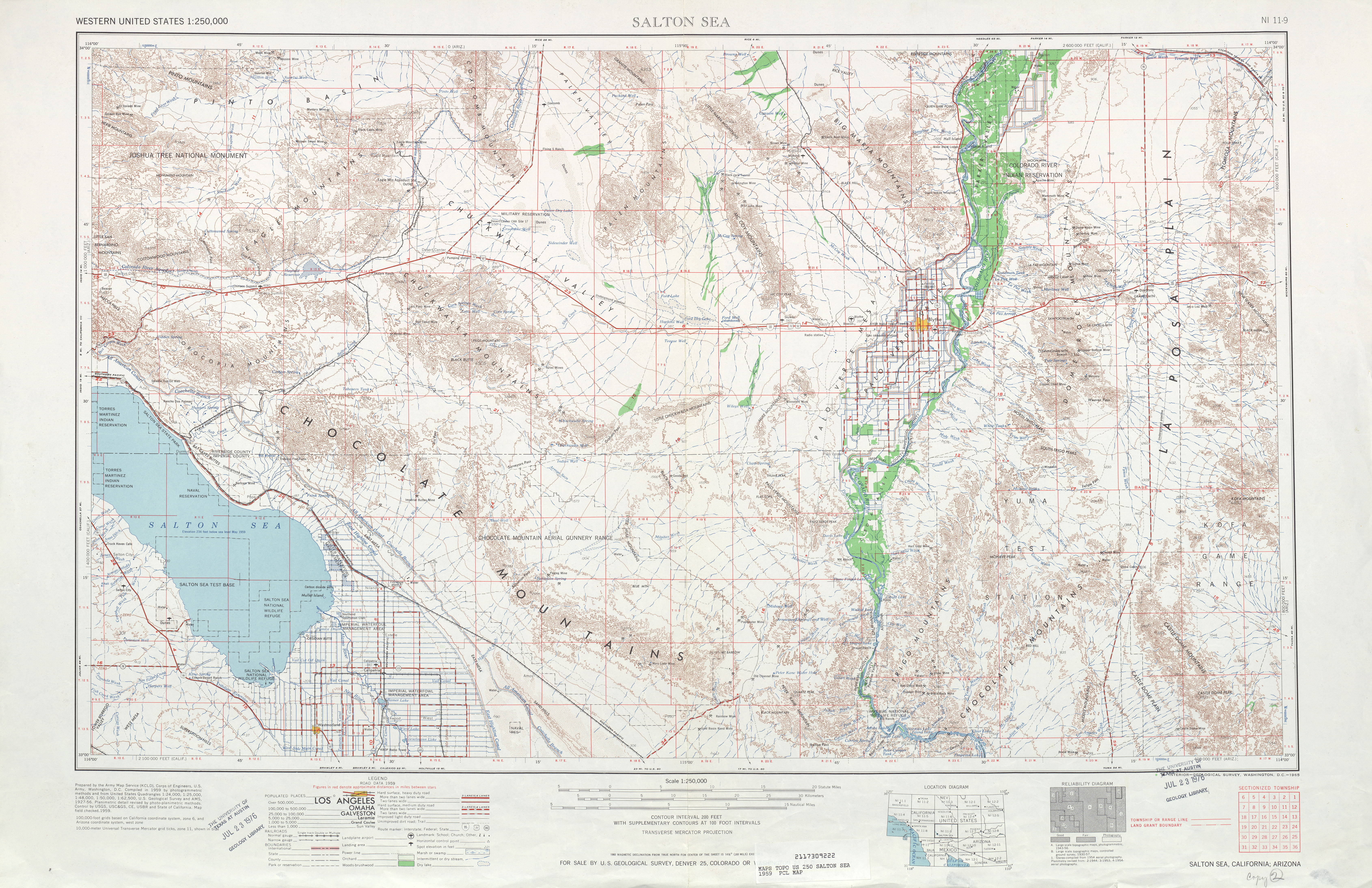 Salton Sea Topographic Map Sheet, United States 1959