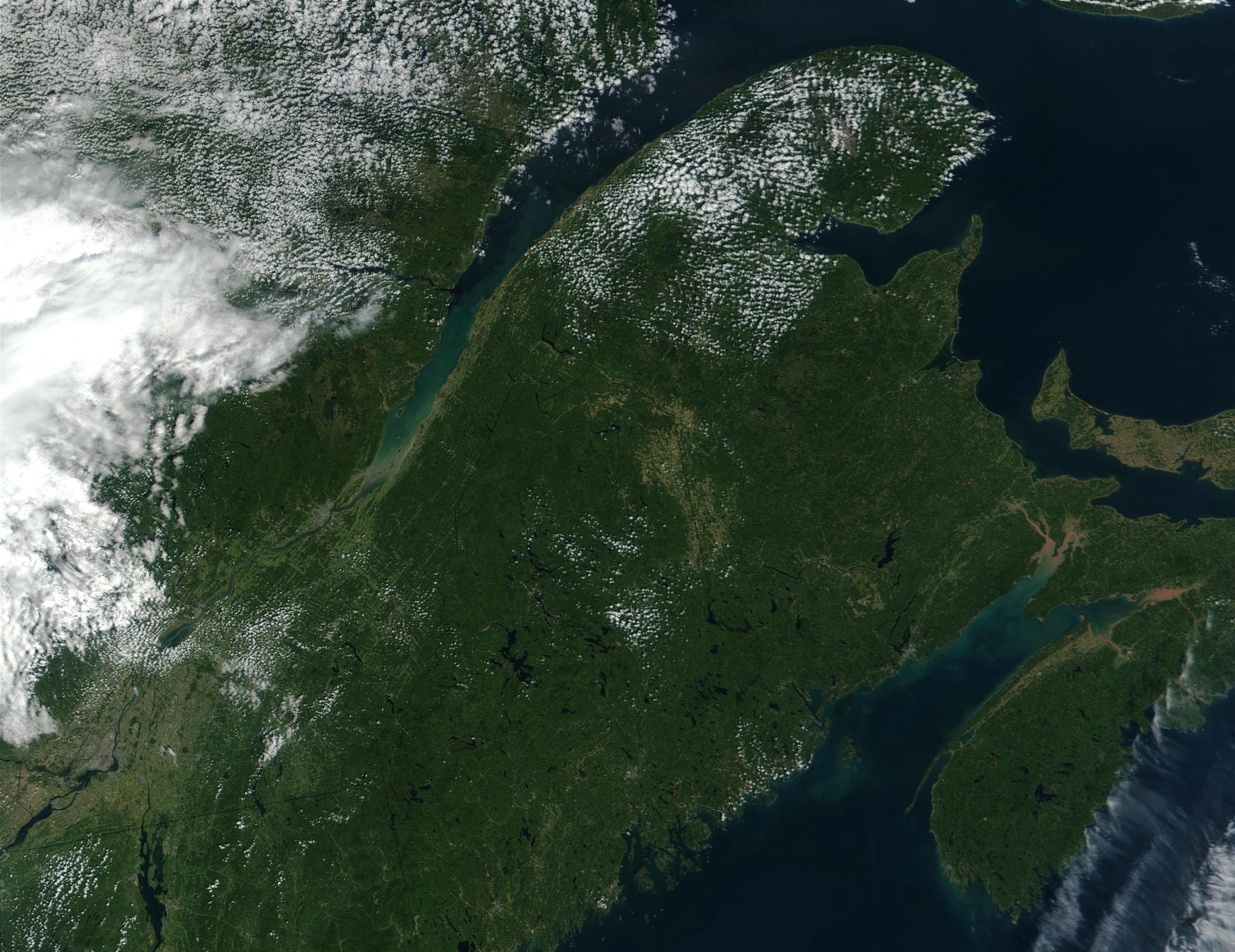 Satellite Image, Photo of Gaspésie and Eastern Quebec