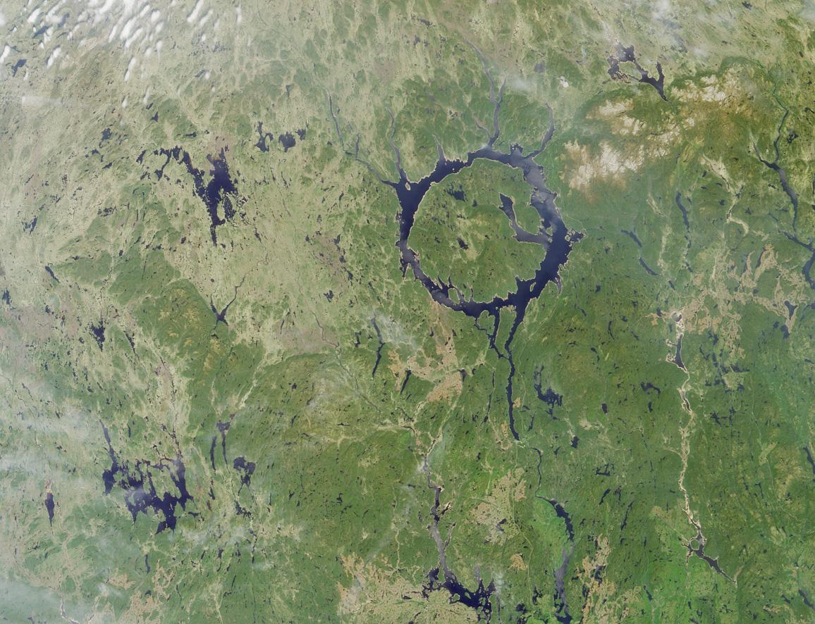 Satellite Image, Photo of Lake Manicouagan in Northern Quebec