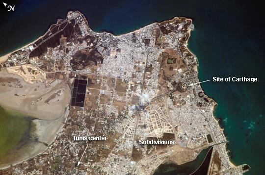 Satellite Image, Photo of Tunis, Tunisia