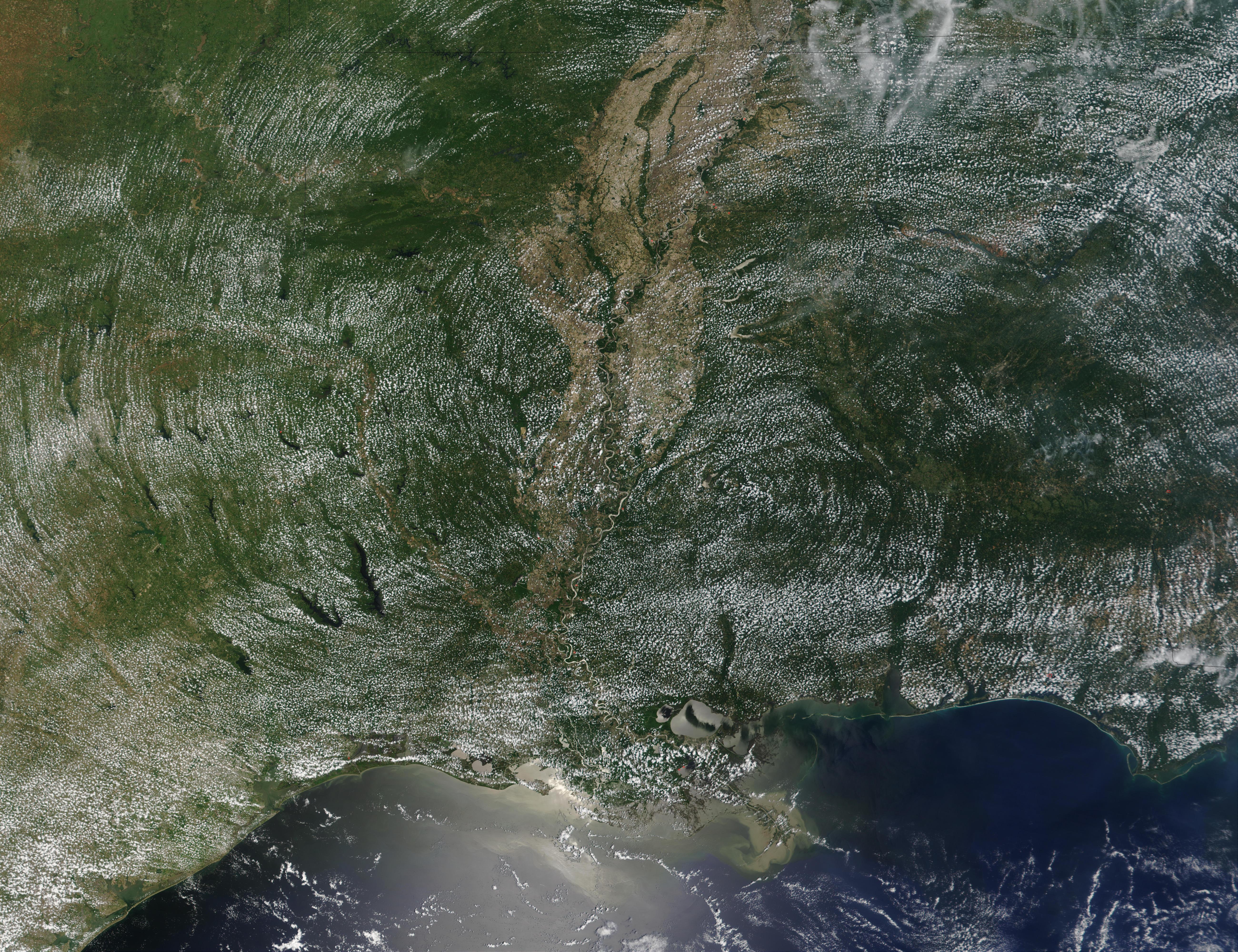 Sistema de nubes cumulus concéntricas encima de Estados Unidos Meridional
