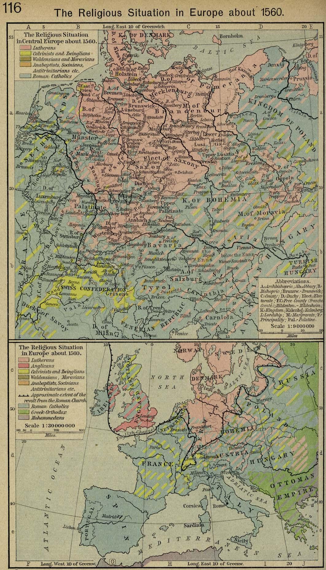 Situación Religiosa en Europa circa 1560