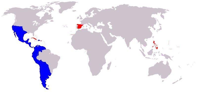 Status of the Spanish Empire in 1824