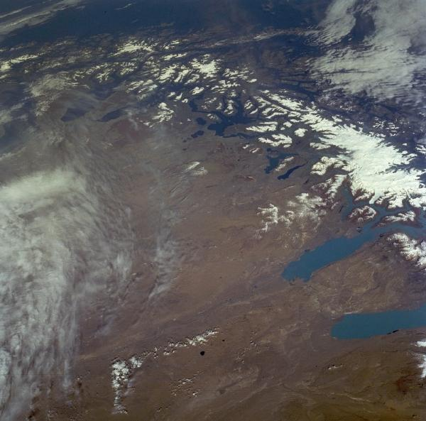 Satellite Image, Photo of Southern Andes Mountains, Argentina and Chile
