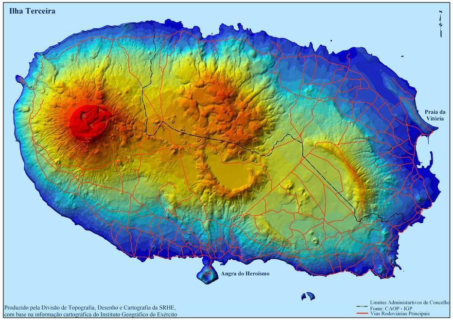 Terceira Island Map, Portugal