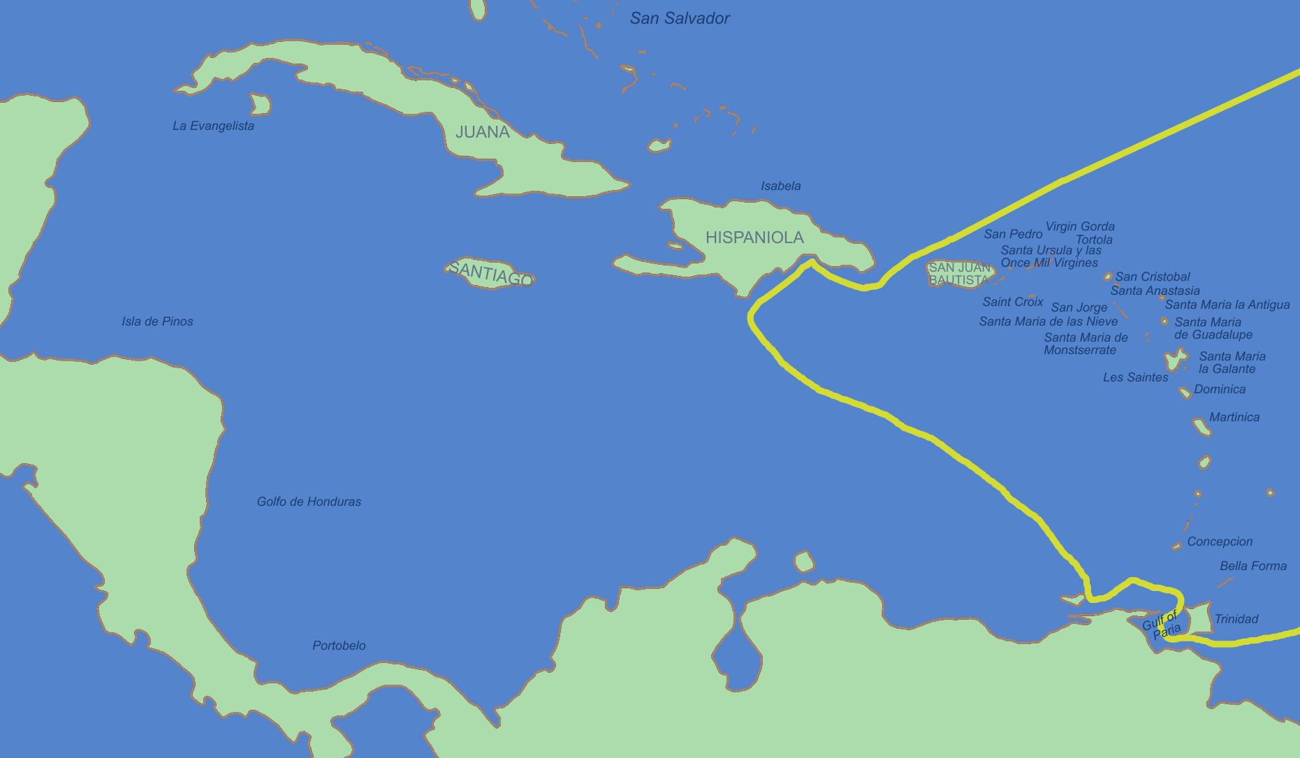 Tercer viaje de Cristóbal Colón en 1498