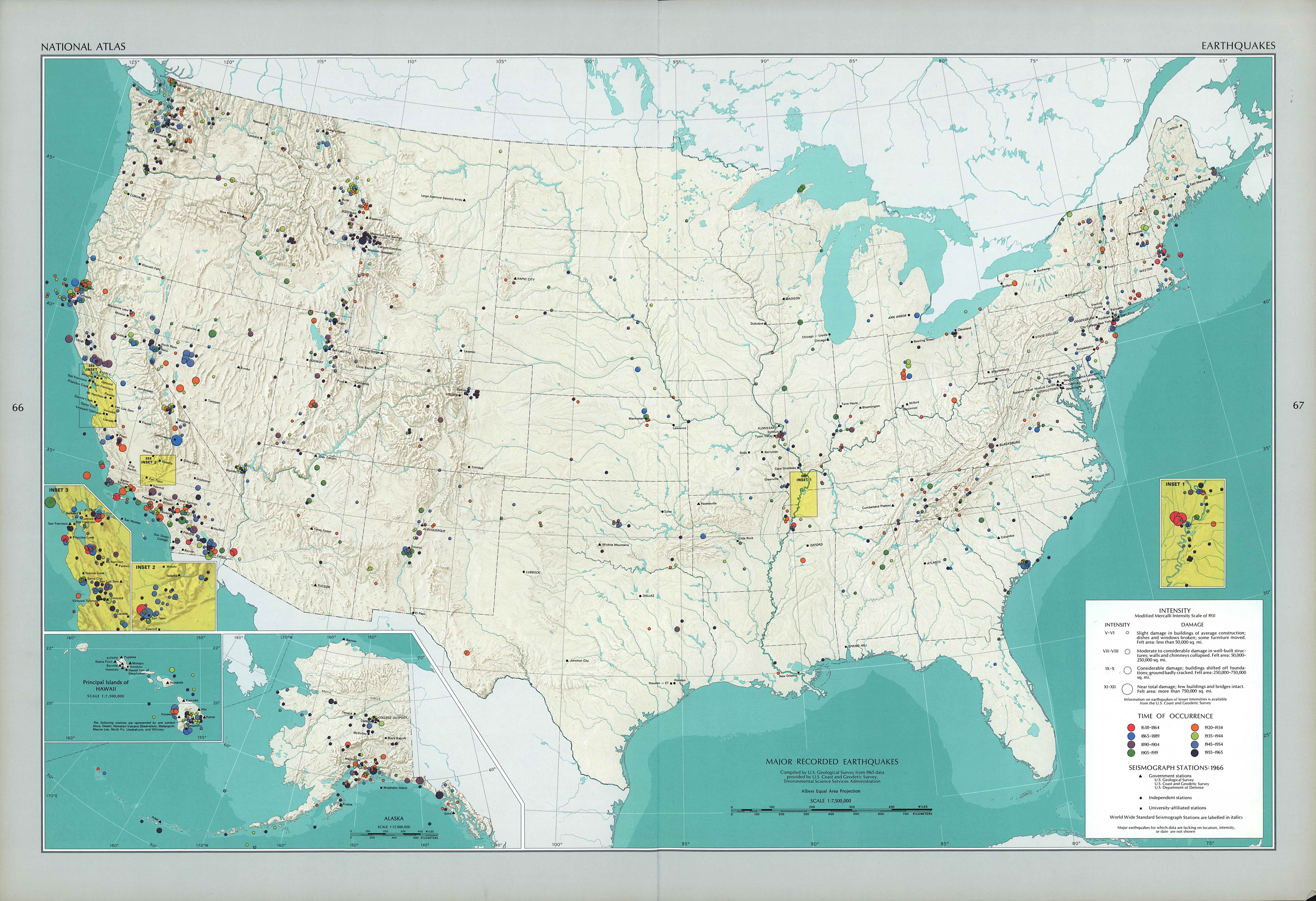 United States Earthquakes 1638 - 1965