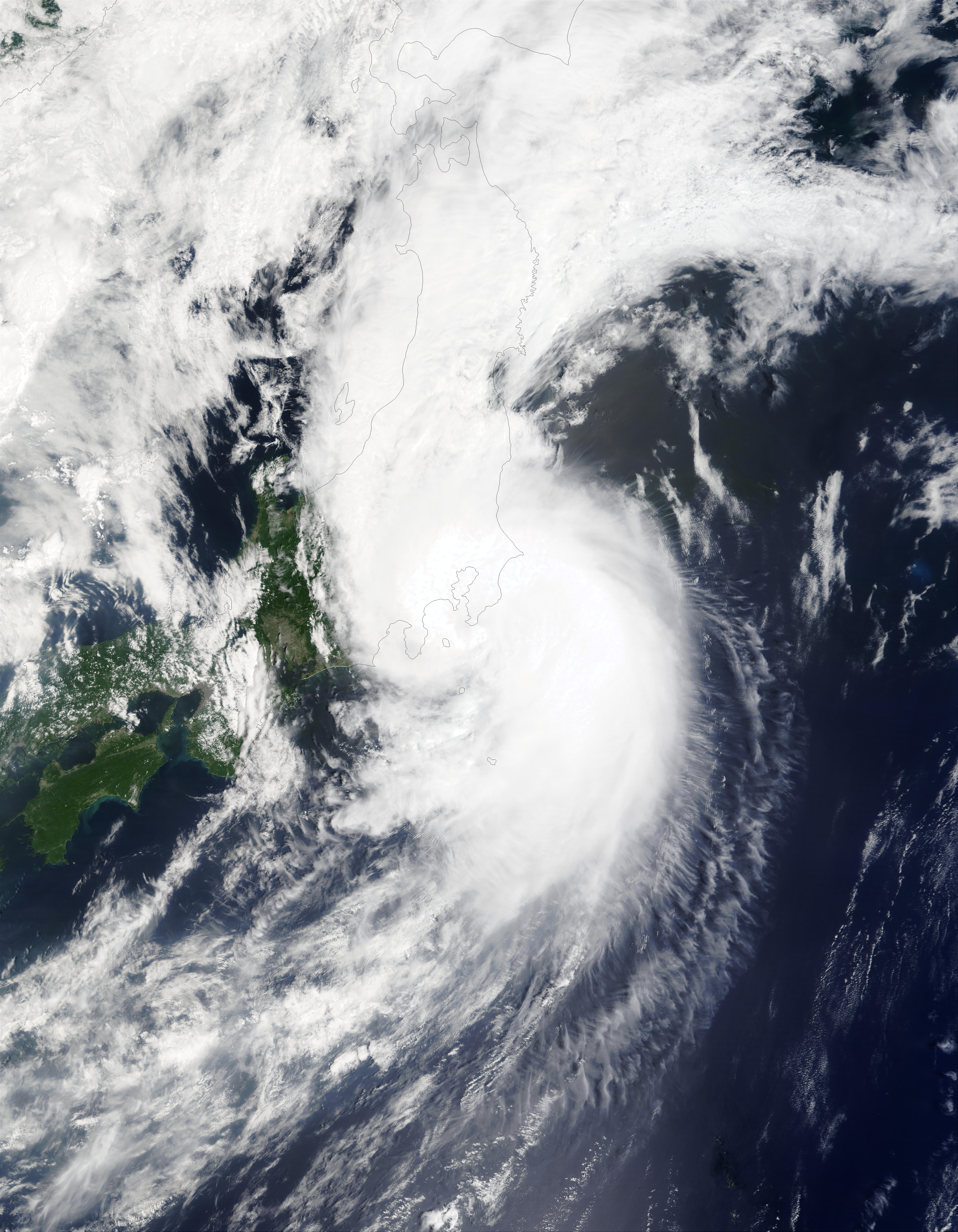 Typhoon Halong (10W) off Japan