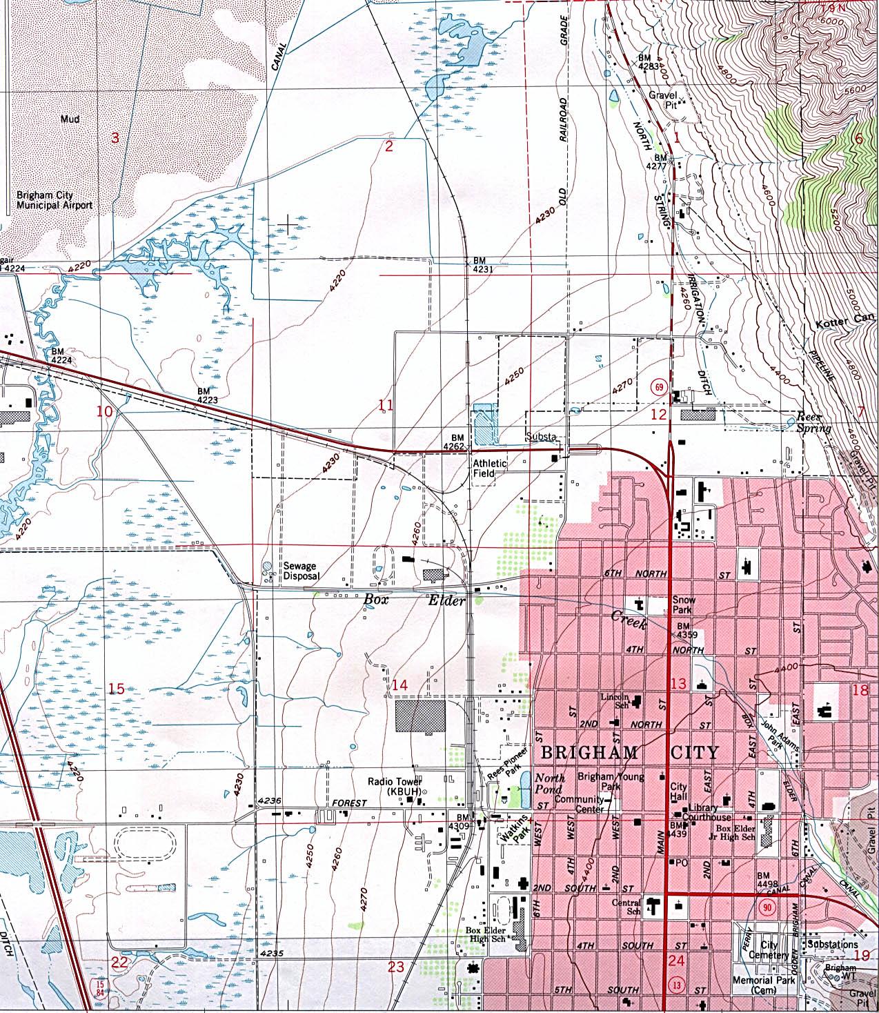 Topográfico de la Ciudad de Brigham City, Utah, Estados Unidos