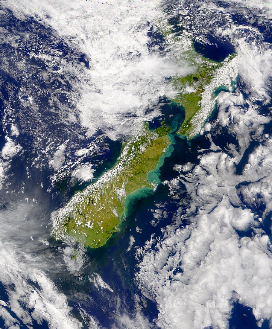 Turbidez al este de Nueva Zelanda