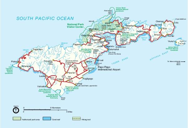 Tutuila Island Map, American Samoa