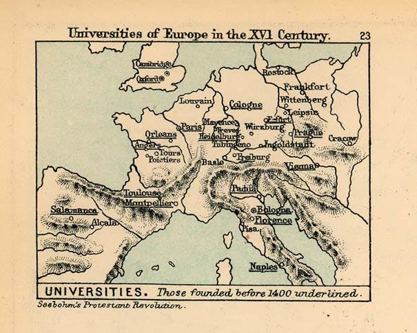 Universidades en Europa en el siglo XVI