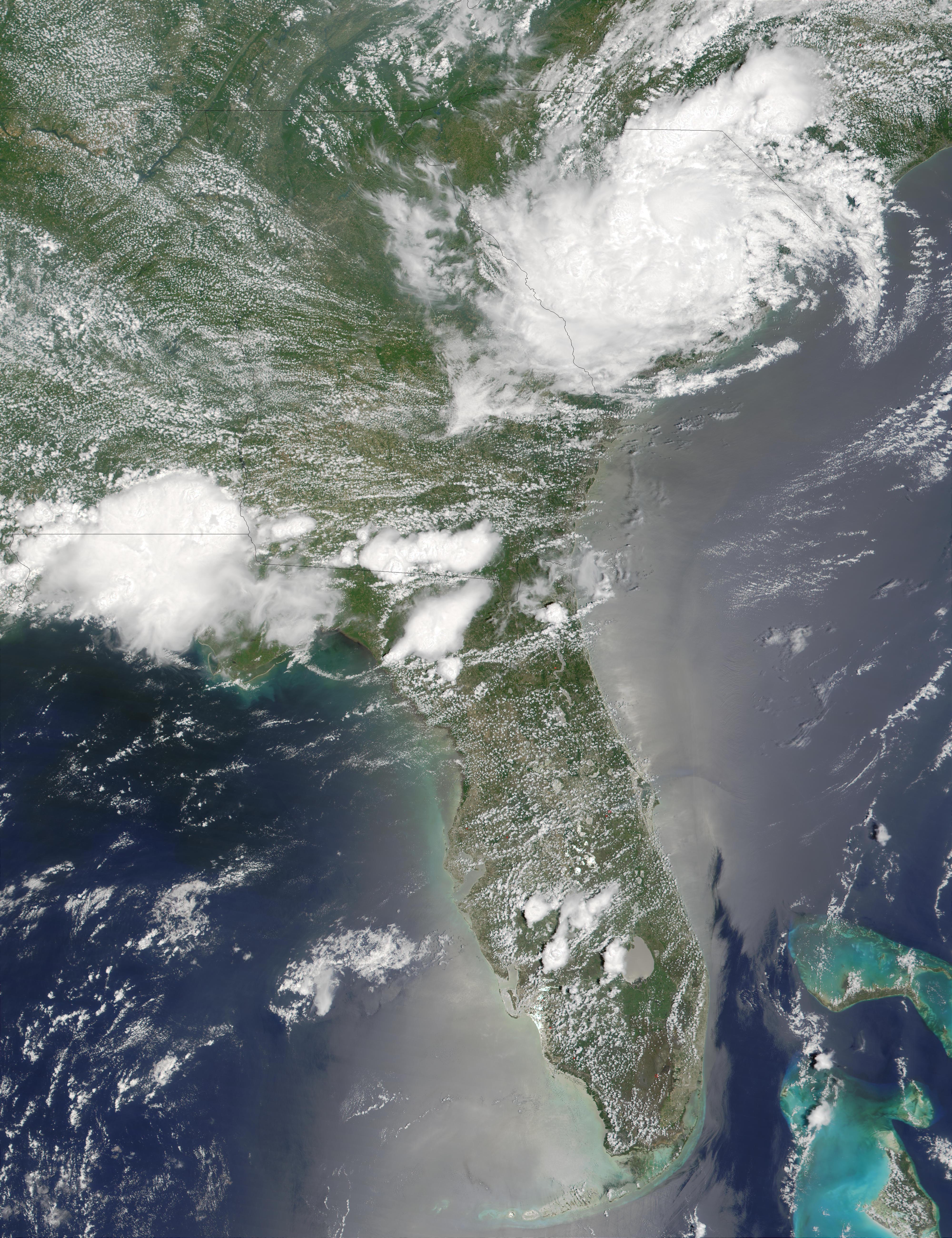 Vestigios del ciclón tropical Allison encima del sureste Estados Unidos