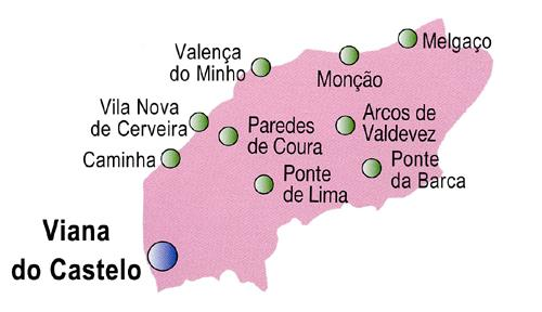 Viana do Castelo District Map, Portugal