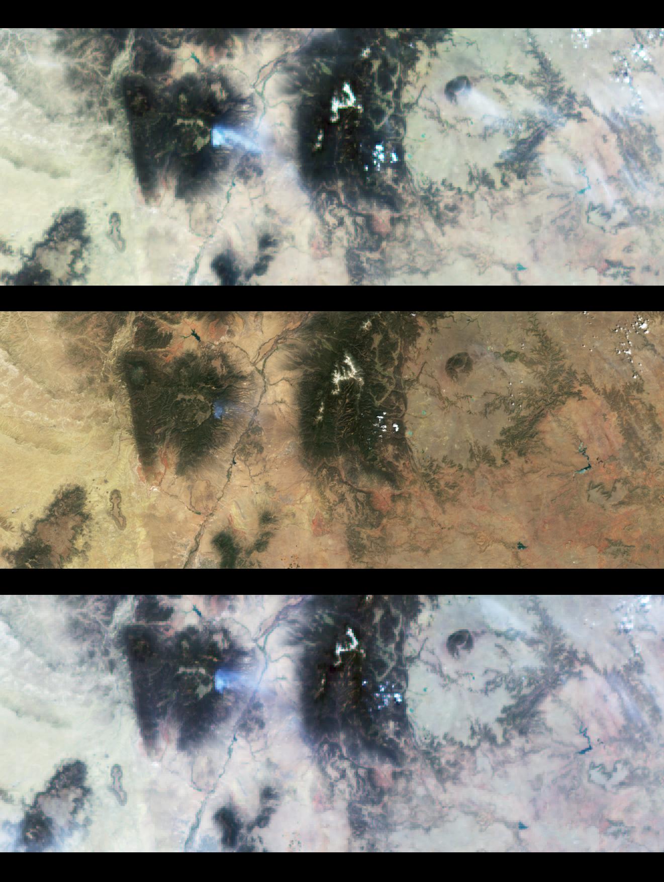 Vista multiangular del incendio en Los Alamos, Nuevo México, 9 Mayo 2000
