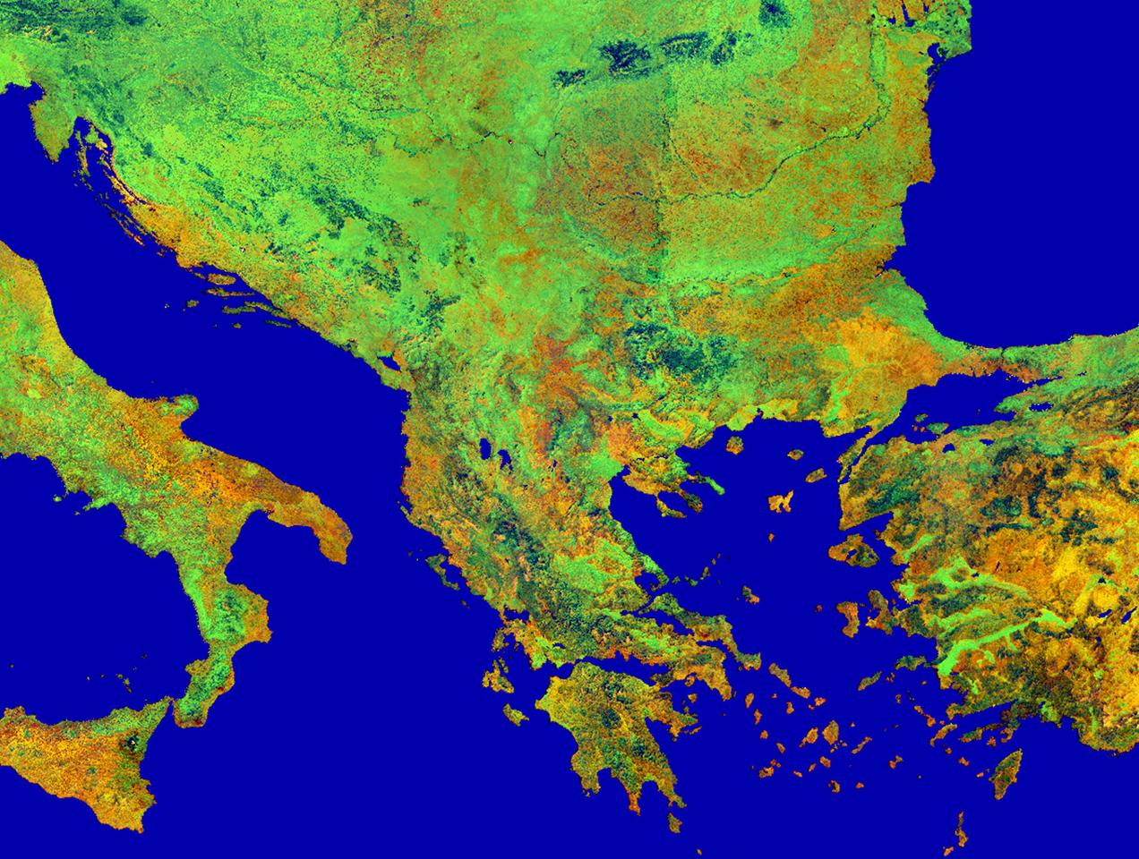 Vista satelital de los Balcanes