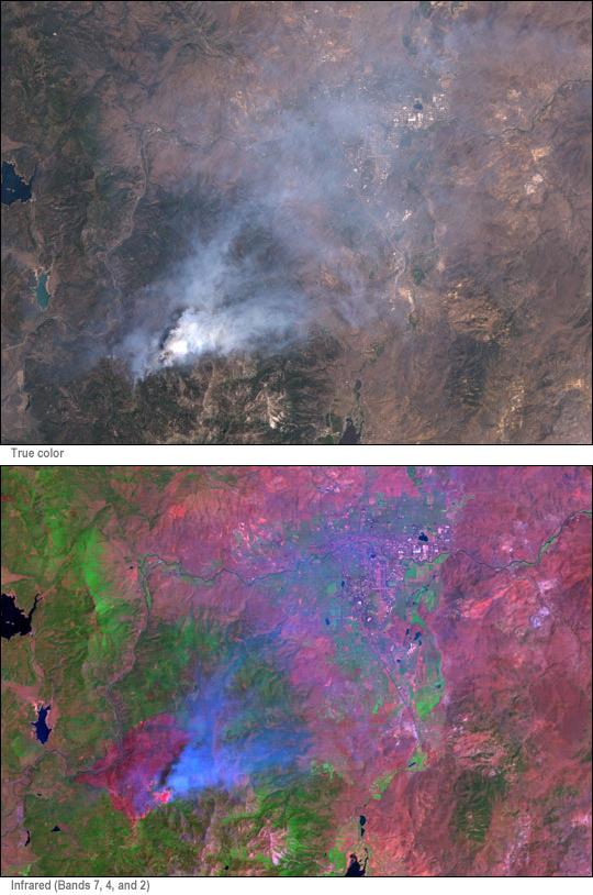 Vistas en alta resolución de un incendio cerca de Reno