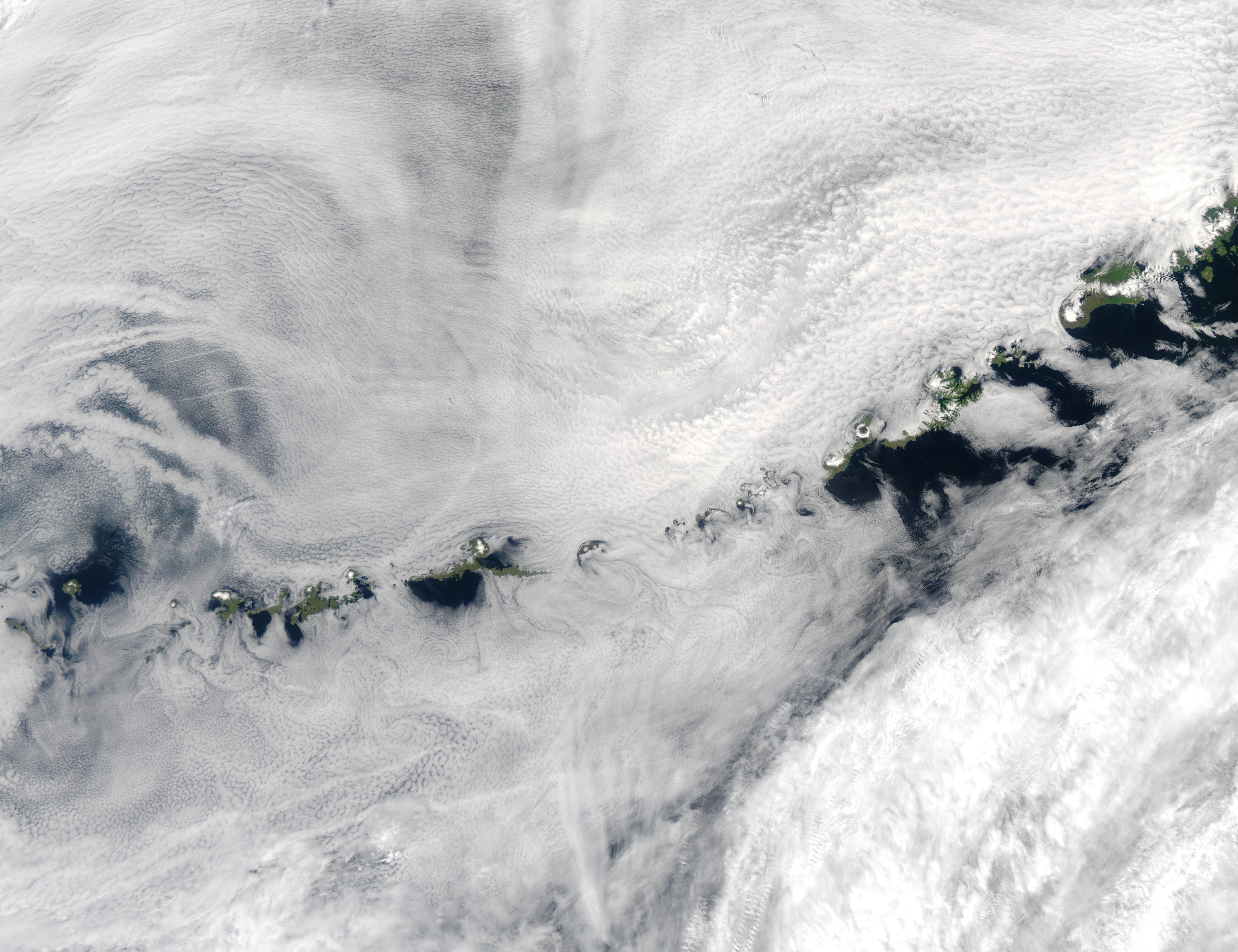 Cloud vortices and ship tracks off Aleutian Islands, Alaska