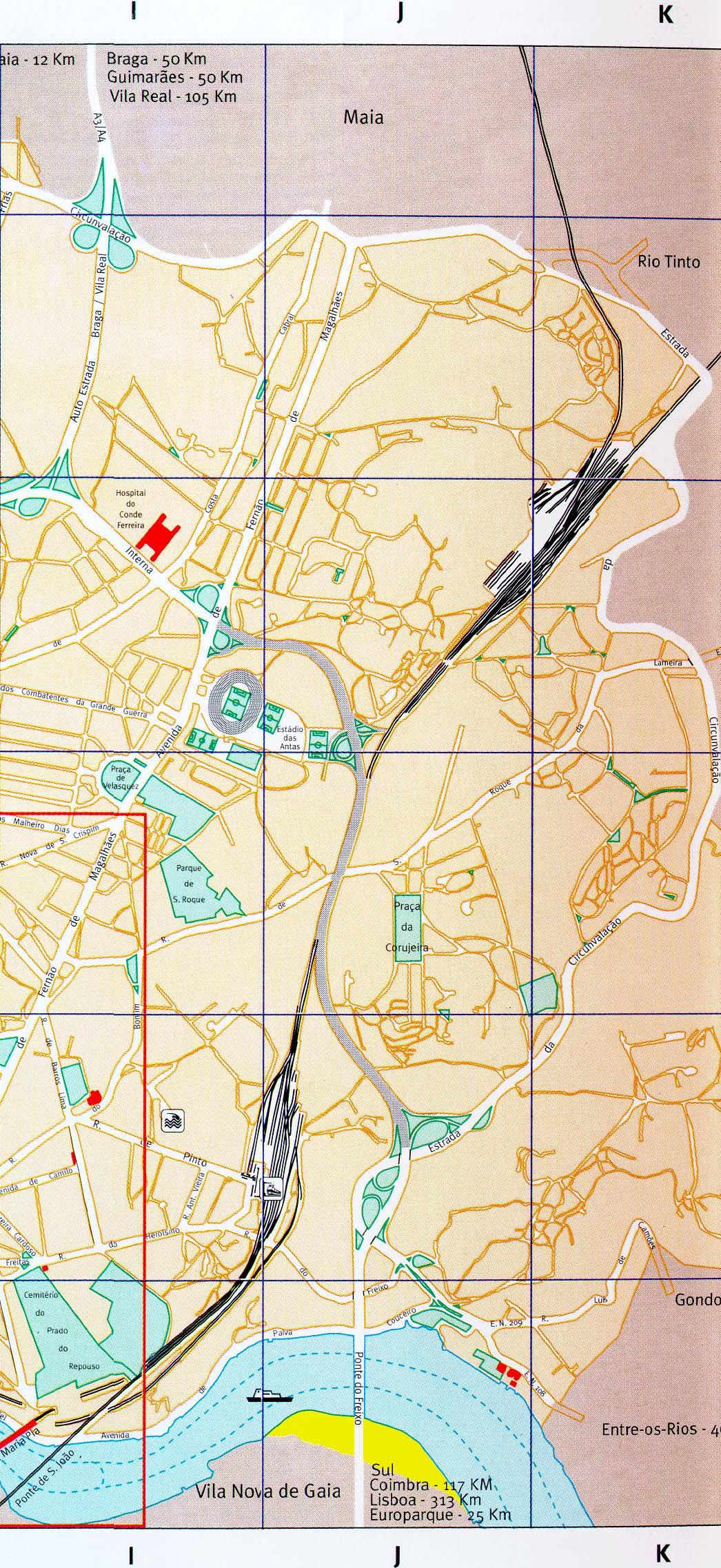 Western Porto City Map, Portugal