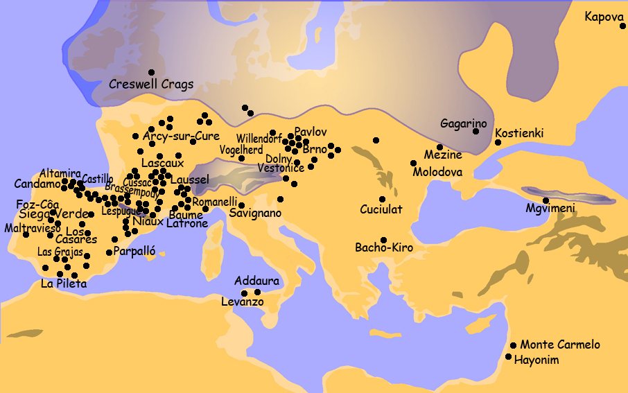 Sites with Paleolithic Art in Europe