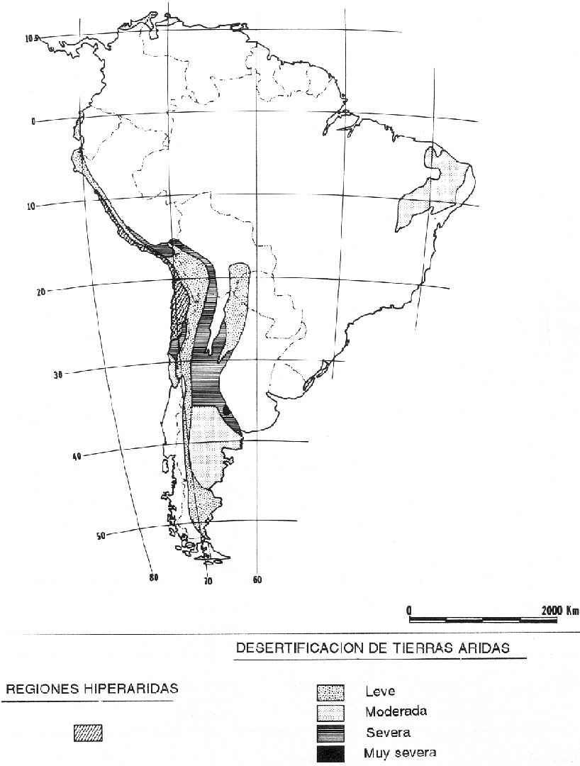 Zonas de desertificación potencial en América del Sur 1983
