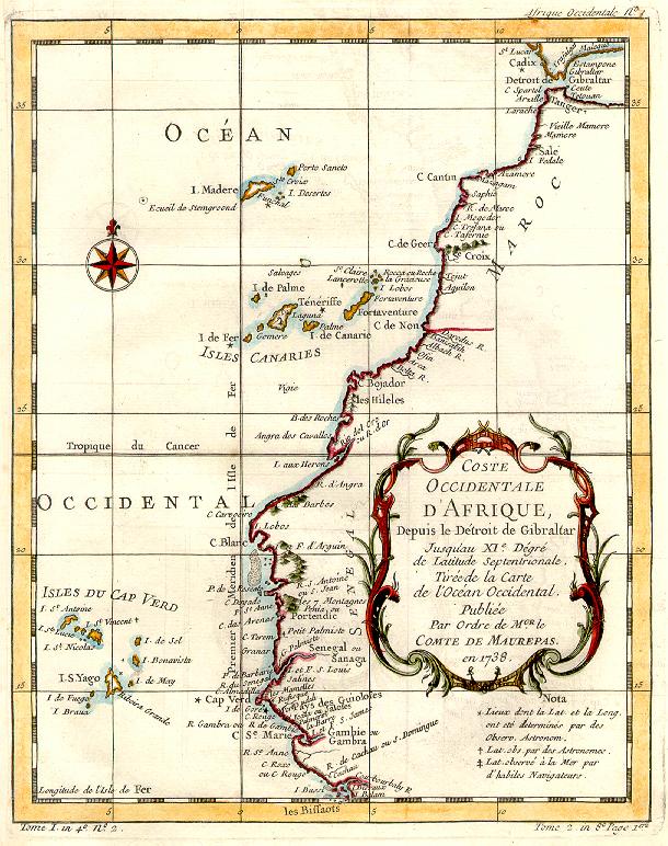 África Occidental en 1738