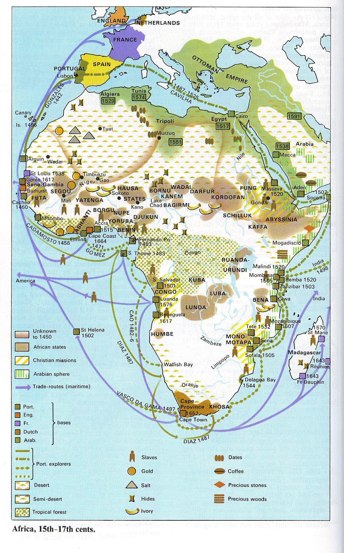 África entre los siglos XV y XVII