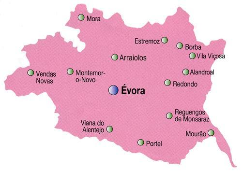 Évora District Map, Portugal