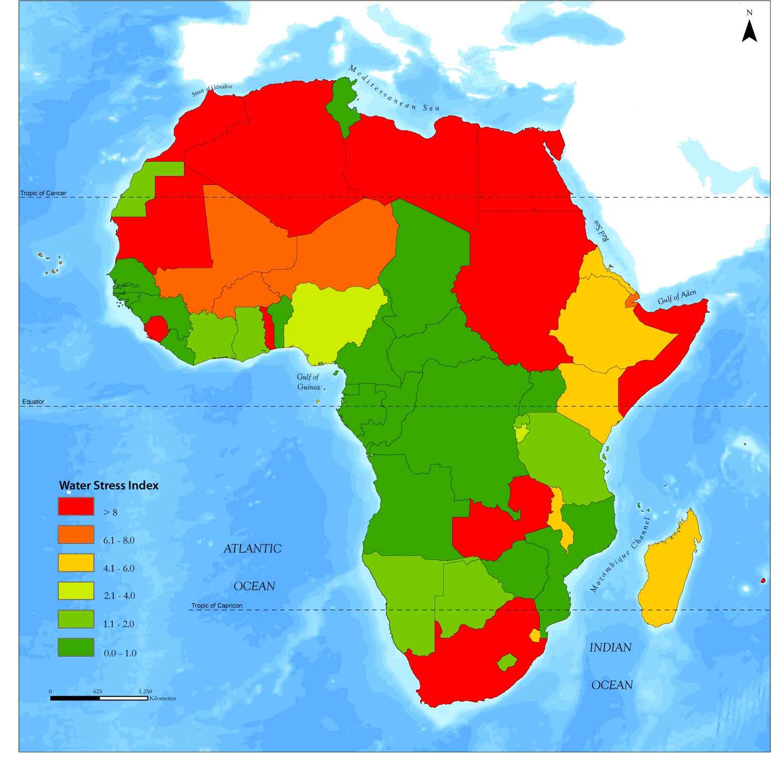 Índice de estrés hídrico de África
