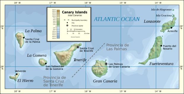 Mapa físico de las Islas Canarias 2007