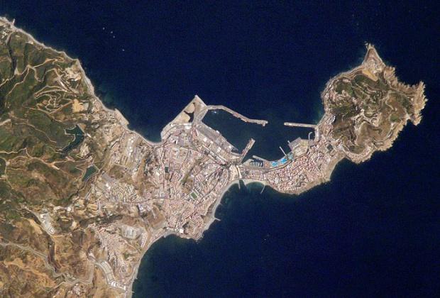 Mapa satelital de Ceuta
