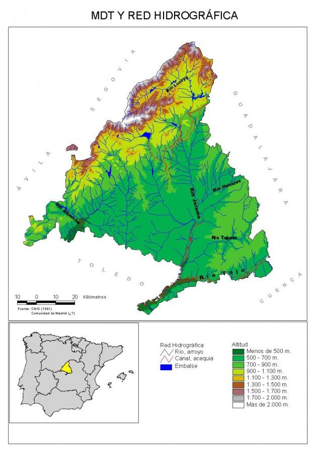 Mapa físico hidrológico Comunidad de Madrid