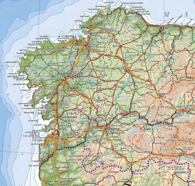 Mapa físico de Galicia