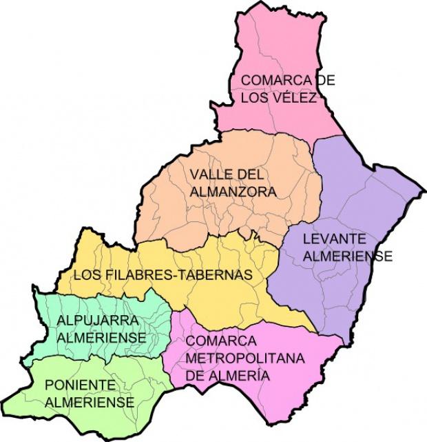 Municipios y comarcas de la Provincia de Almería 2008