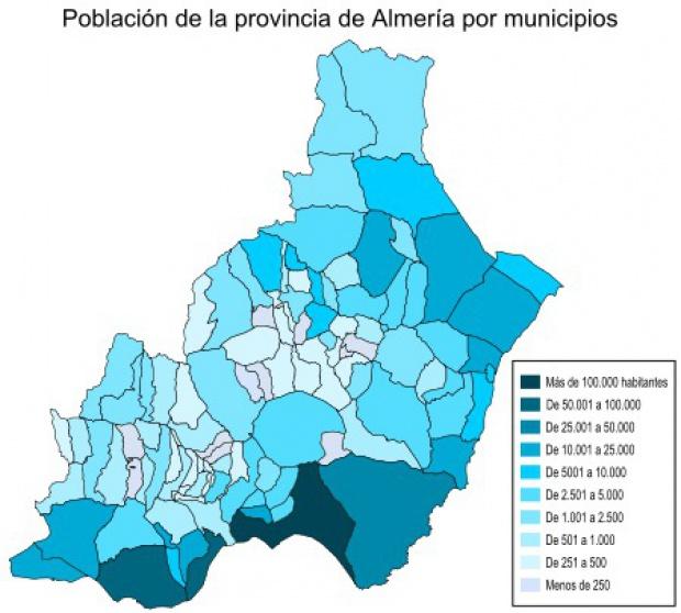 Población de la provincia de Almería 2007