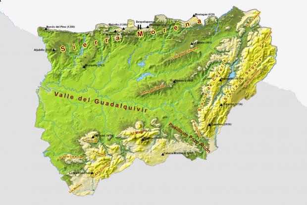 Mapa físico de la provincia de Jaén 2009