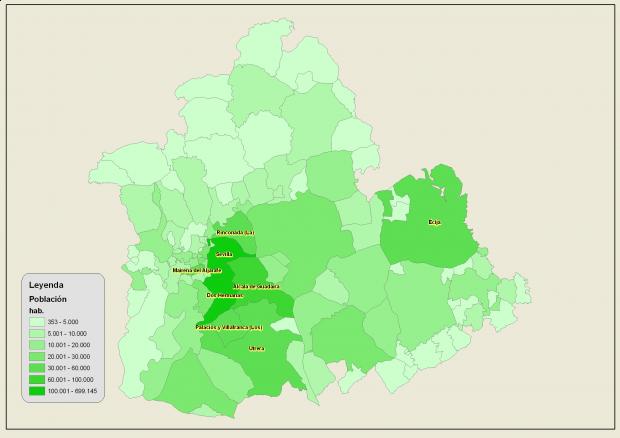 Población de la provincia de Sevilla 2007