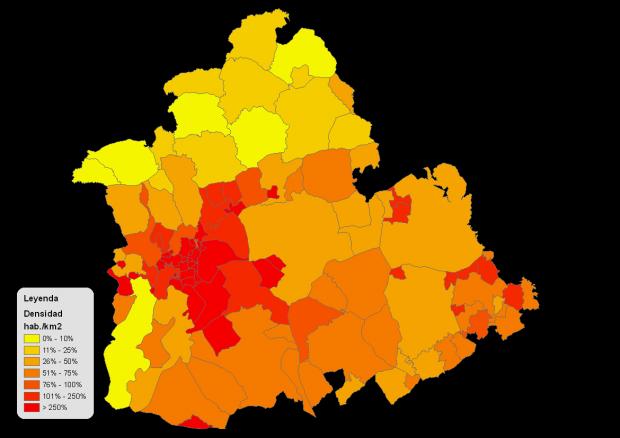 Densidad de población de la provincia de Sevilla 2008