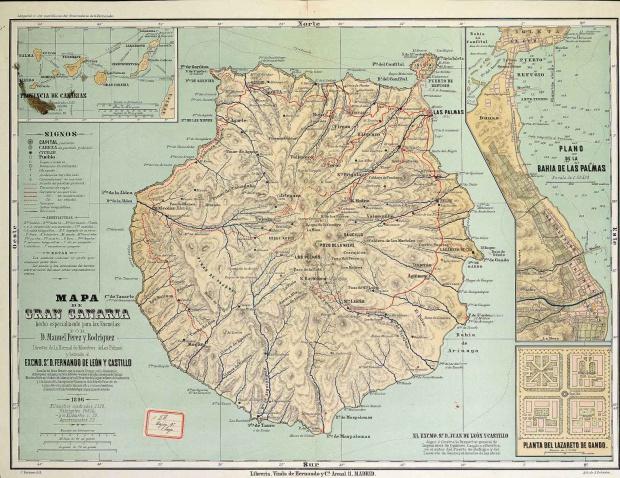 Mapa de Gran Canaria 1896