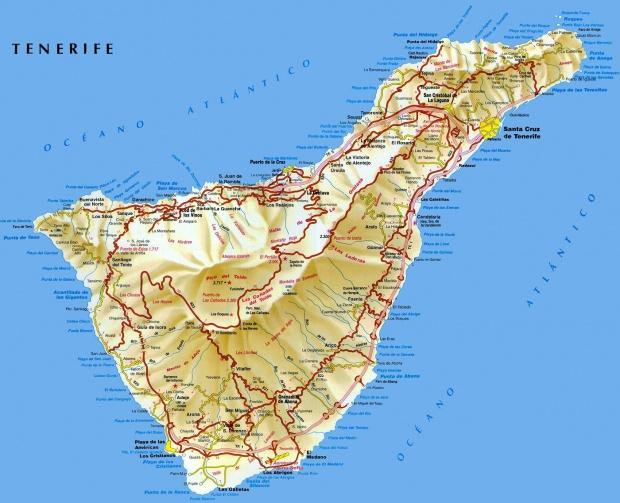 Mapa de carreteras de la Isla Tenerife