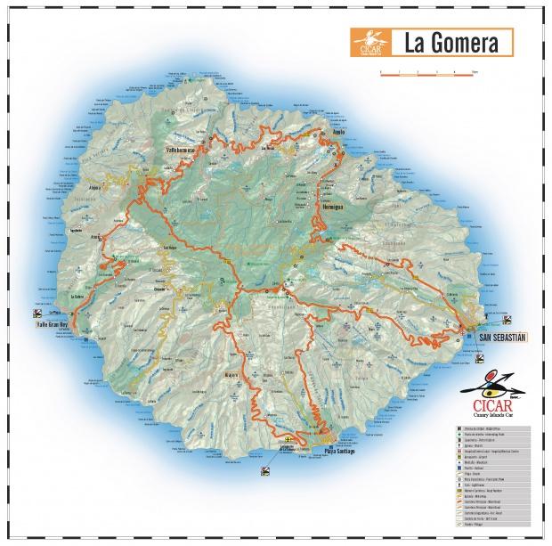 Mapa de carreteras de la isla La Gomera