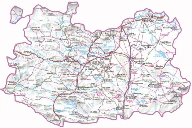 Mapa Provincia Ciudad Real.Mapas Politico De Ciudad Real