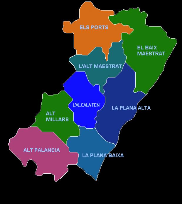 Provincia De Castellón Mapa.Mapas Politico De Castellon
