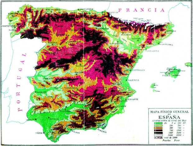 Mapa físico general de España