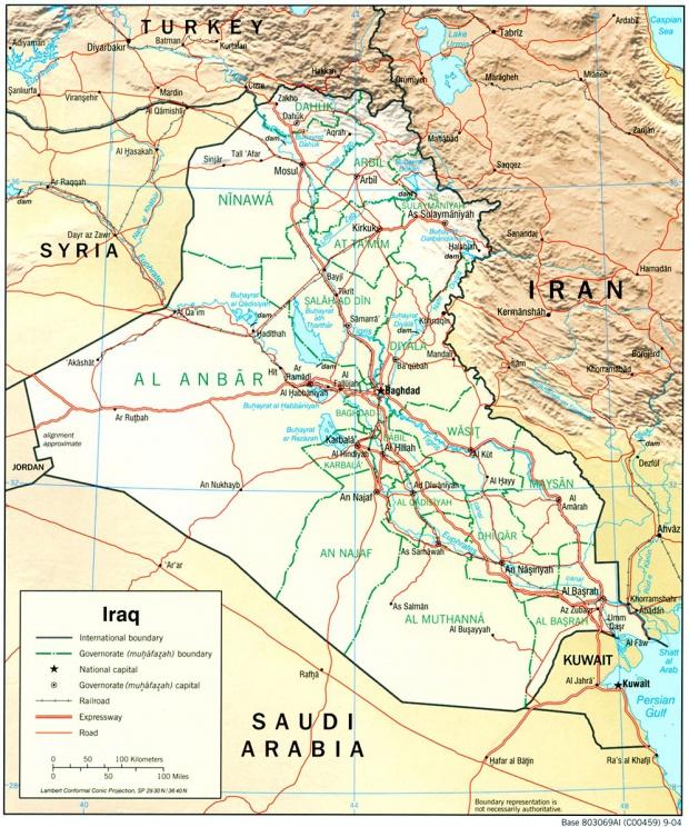 Mapa Físico de Irak 2004