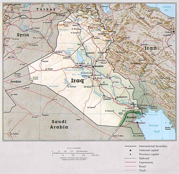 Mapa Físico de Irak 1993