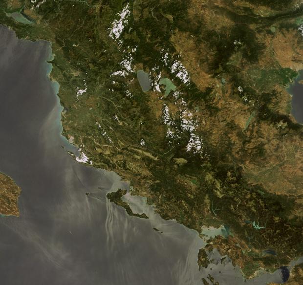 Vista satelital de Albania 2009
