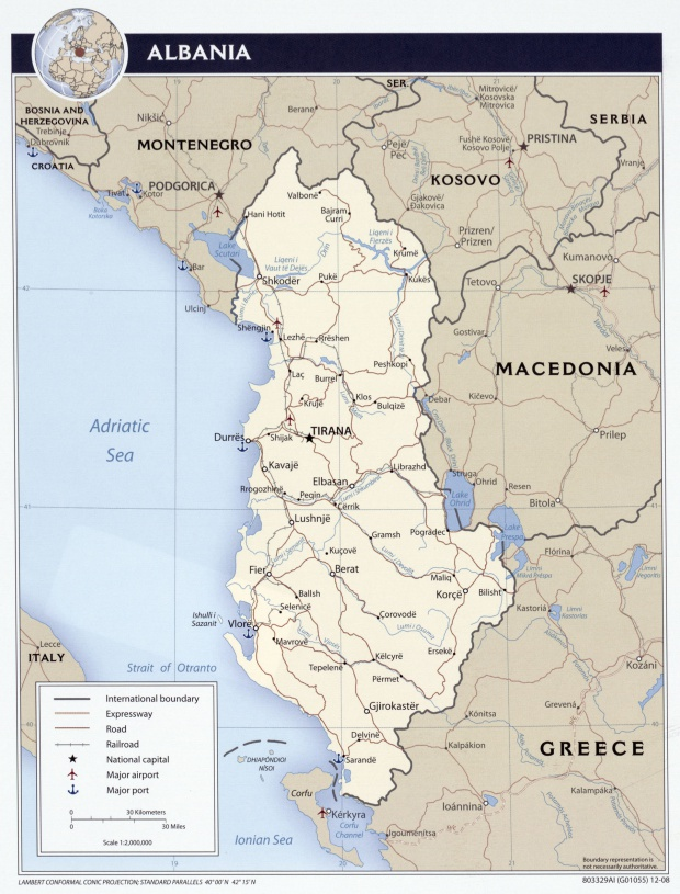 Mapa político de Albania 2008